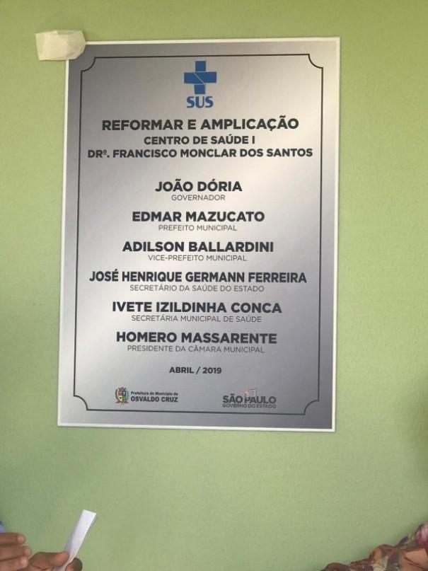 Prefeitura inaugura reforma e ampliação de parte do Centro de Saúde