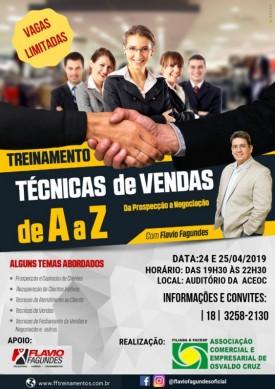 Flávio Fagundes ministra treinamento 'Técnicas de Vendas de A a Z'