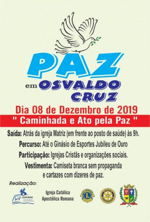 Osvaldo Cruz terá a 1ª Caminhada Ecumênica pela Paz
