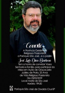 Convite: Missa em ação de graças aos 25 anos de vida religiosa Padre José Luís