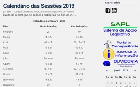 Câmara Municipal de Salmourão divulga calendário de sessões ordinárias para 2019