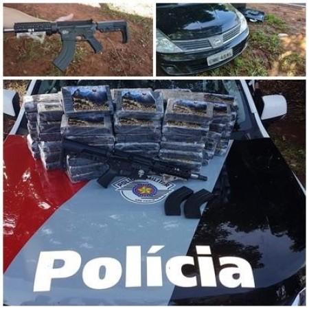 Veículo com fundo falso, arma e droga é aprendido em Paulicéia
