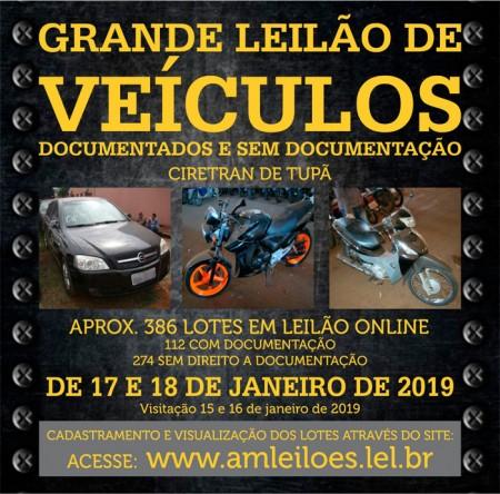 Leilão do Detran acontece nesta semana em Tupã, são mais de 380 veículos