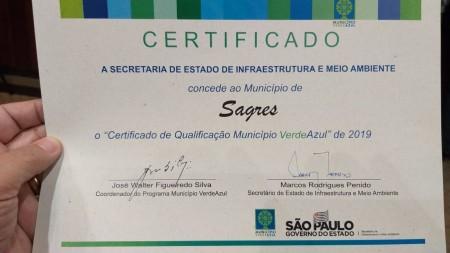 Sagres recebe Certificado de Qualificação do Município VerdeAzul