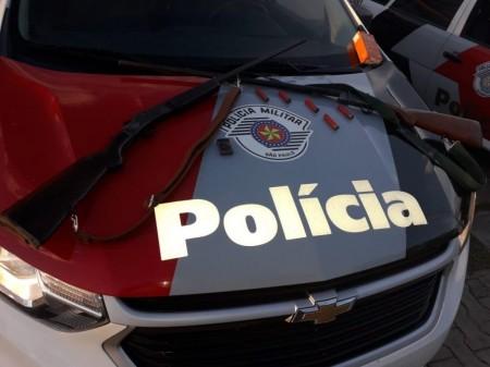 Polícia Militar de Lucélia detém morador de propriedade rural em posse de armas de fogo
