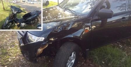Motoqueiro fica ferido em acidente ocorrido na via de acesso a Bastos