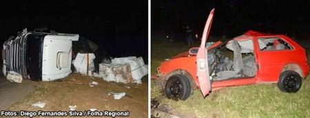 Rapaz fica em estado grave após batida frontal entre carro e carreta na SP-294
