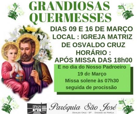 Quermesse em louvor a São José acontece nos dias 09 e 16 de março
