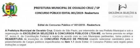 Instituto Excelência republica edital do Concurso Público da Prefeitura de OC