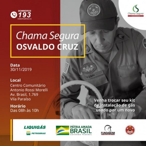 Programa Chama Segura realiza troca de kits de instalação de gás em Osvaldo Cruz