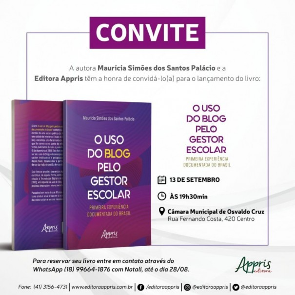 """Professora Maurícia Simões lança o livro """"O Uso do Blog pelo Gestor"""" pela editora Appris"""