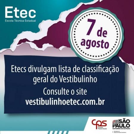 Etec Amim Jundi de Osvaldo Cruz divulga lista de classificação do Vestibulinho 2ª Semestre 2020