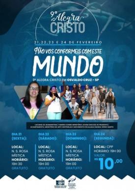 Grupo de Jovens Católicos realiza a 9ª edição do 'Alegra Cristo' em Osvaldo Cruz