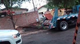 Caminhão derruba parte de árvore e fiação; sob risco de choque, motorista aguarda socorro no veículo