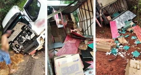 Motorista e ajudante sofrem acidente na Rodovia Castelo Branco
