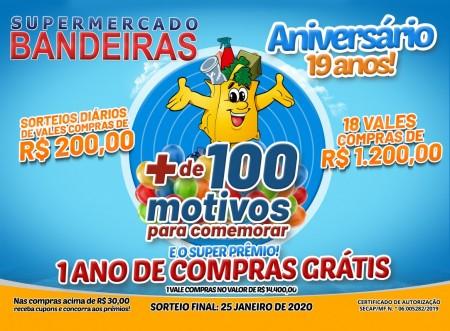 Supermercado Bandeiras realiza sorteio da promoção de aniversário neste sábado