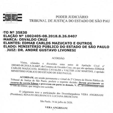 Tribunal de Justiça de São Paulo julga improcedente ação da Promotoria de Osvaldo Cruz contra Mazucato, Marilza e Valtinho
