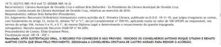 Tribunal de Contas do Estado julga irregulares as contas do Vice-Prefeito Adilson Ballardini, quando era Presidente da Câmara Municipal