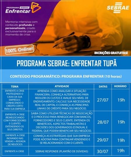 Sebrae de Tupã abre inscrições para curso de enfrentamento de crise