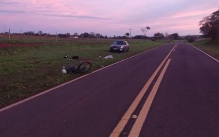 Ciclista morre após ter bicicleta atingida por carro em Caiuá