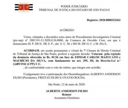 Tribunal de Justiça rejeita denúncia contra Mazucato e engenheiro