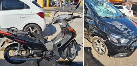 Motociclista fica ferida em acidente no centro de Tupã