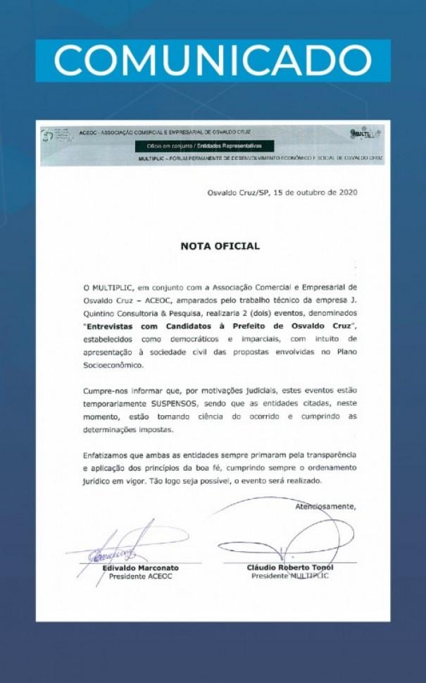 Multiplic e Aceoc emitem nota sobre suspensão da realização de entrevistas com candidatos a prefeito de OC