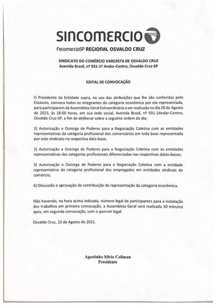 Sincomércio de Osvaldo Cruz convoca integrantes para Assembleia Geral Extraordinária