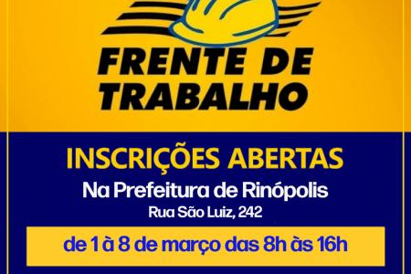 Prefeitura de Rinópolis abre inscrições para Frente de Trabalho na segunda