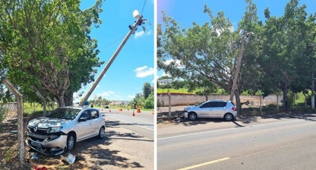 Carro colide contra poste em frente a Base da Polícia Rodoviária de Tupã