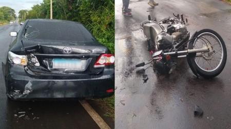 Motociclista e passageira ficam feridos em acidente na vicinal Bastos – Tupã