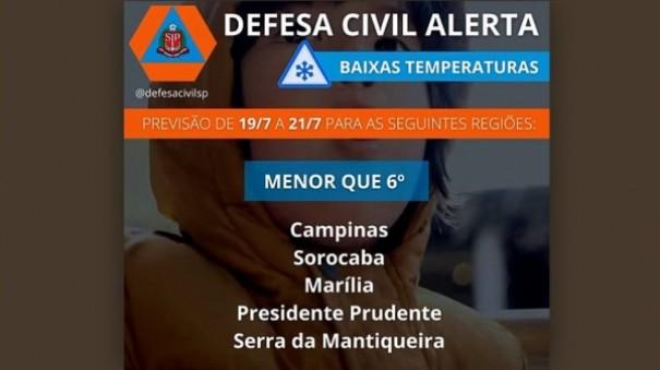 Defesa Civil emite alerta de baixas temperaturas para a região, menor que 6°C