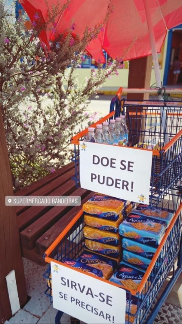 Supermercado Bandeiras inicia ação solidária que disponibiliza itens para quem não pode comprar
