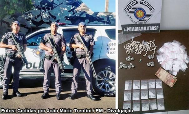 Força Tática de Tupã prende indivíduo e apreende drogas em vicinal de Quatá