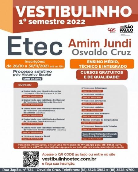 Etec Amim Jundi está com inscrições abertas para o Vestibulinho 1° semestre 2022