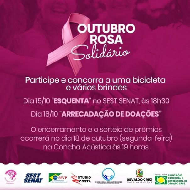 Osvaldo Cruz terá a campanha 'Outubro Rosa Solidário'