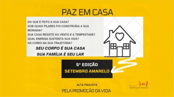 Paz em Casa é o tema central da 5ª edição do Setembro Amarelo em Adamantina