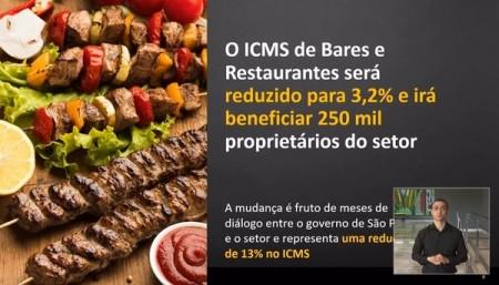 Governo de SP anuncia redução para 3,2% da alíquota de ICMS para o setor de bares e restaurantes do estado