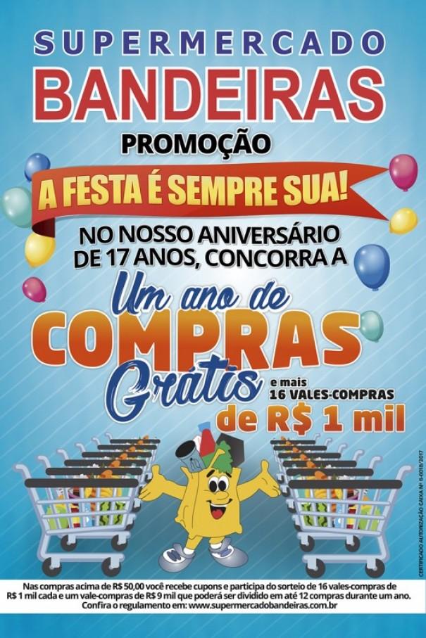 Supermercado Bandeiras lança promoção A FESTA É SEMPRE SUA