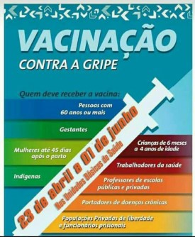 Setor de Saúde de Osvaldo Cruz organiza calendário de vacinação contra a gripe em 2018