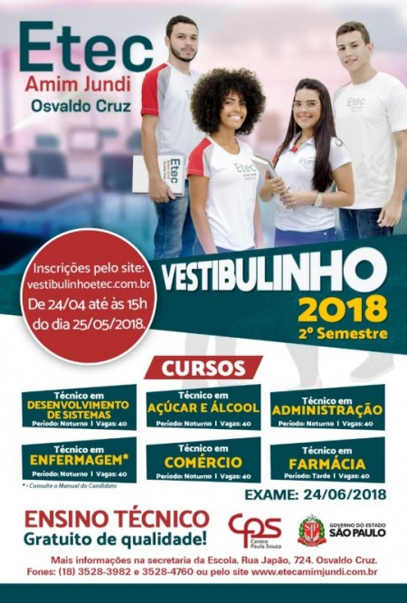 Etec Amim Jundi Centro Paula Souza anuncia inscrições para o Vestibulinho 2º semestre 2018
