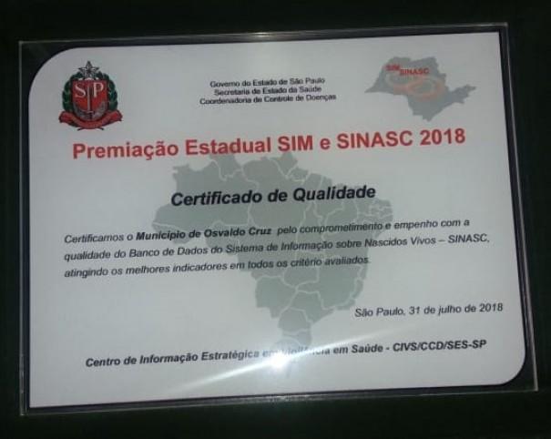 Secretaria de Saúde de Osvaldo Cruz recebe prêmio em São Paulo
