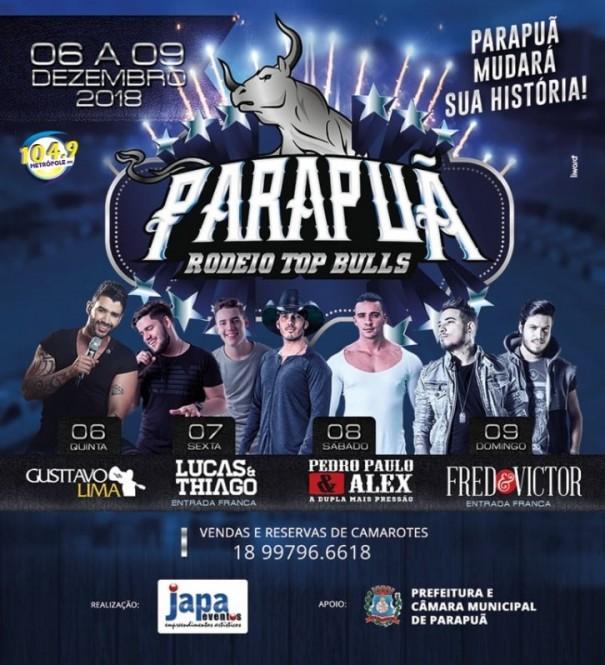Parapuã Rodeio Top Bulls começa hoje com show de Gusttavo Lima