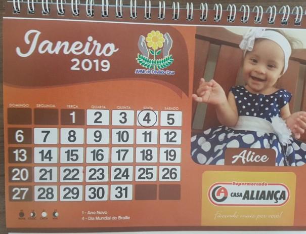 APAE de Osvaldo Cruz inicia a venda dos calendários 2019