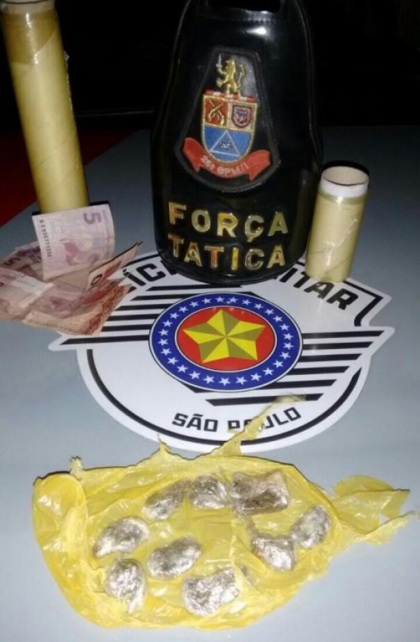 Menor é apreendido pela Polícia Militar com droga e dinheiro do tráfico em Dracena