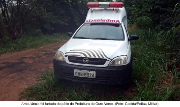 Ambulância furtada da Prefeitura de Ouro Verde é abandonada às margens da SP-294