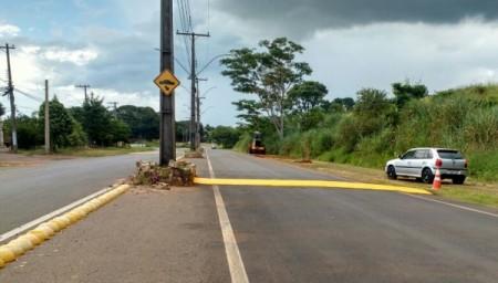 Novos redutores de velocidade foram instalados na Vicinal Moysés Justino da Silva