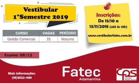 FATEC Adamantina: últimos dias de inscrição para o vestibular 2019