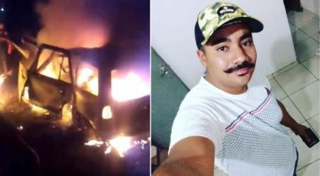 Homem morre carbonizado após carro bater em árvore e pegar fogo