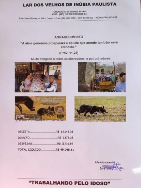 Campeonato de Cães de Pastoreio fez boa arrecadação para o asilo de Inúbia Paulista